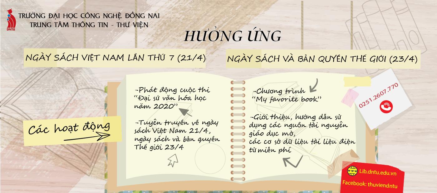 Trung tâm Thông tin – Thư viện Trường Đại học Công nghệ Đồng Nai tổ chức nhiều hoạt động chào mừng Ngày sách Việt Nam lần thứ 7