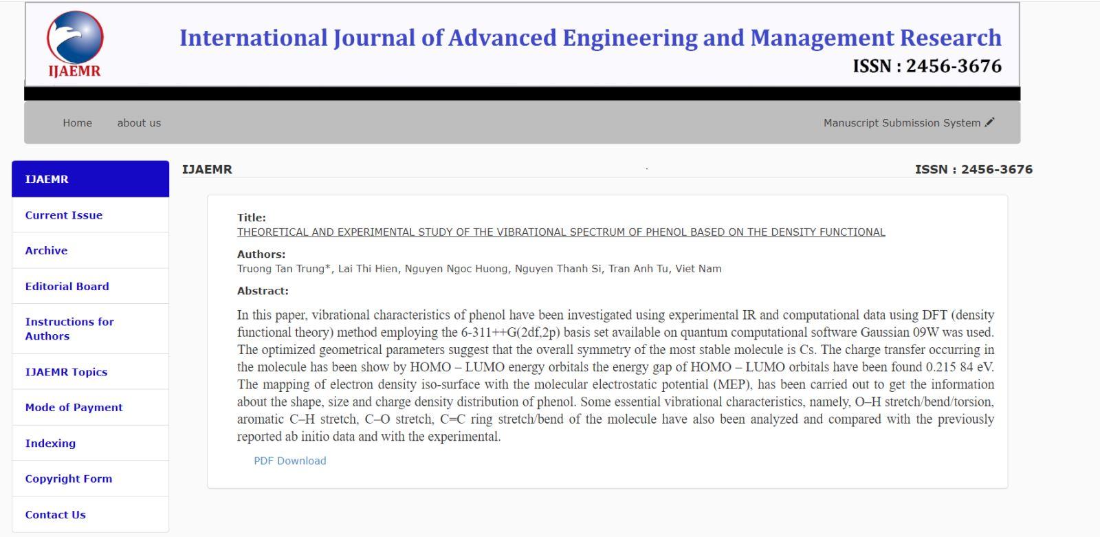 Sinh viên DNTU công bố nghiên cứu khoa học trên tạp chí có chỉ số ISSN quốc tế