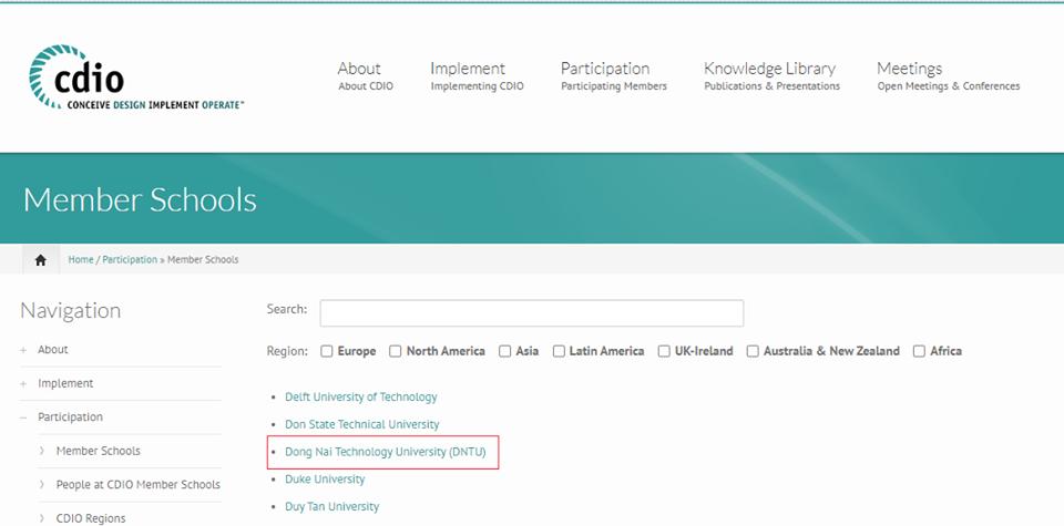 Trường Đại học Công nghệ Đồng Nai chính thức trở thành thành viên của Hiệp hội CDIO quốc tế